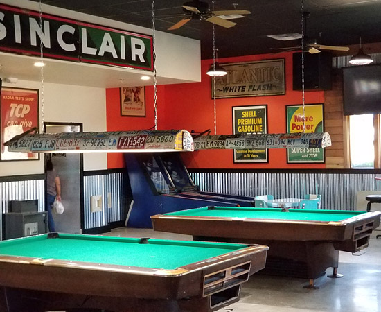 Pool tables and skee ball machines at CarPool